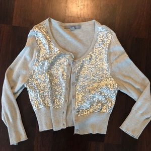 Gray sequin 3/4 sleeve cardigan